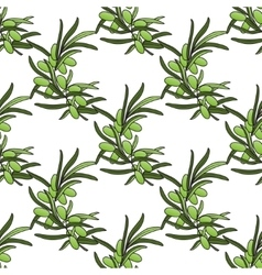 Seamless pattern with pastel olive branch vector