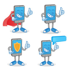 Set happy smartphone vector