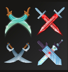 Set of crossed medieval swords vector