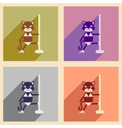 Set of flat icons with long shadow cat cartoon vector