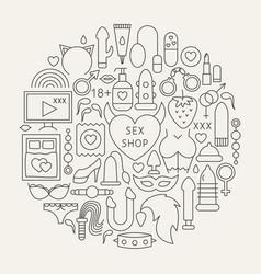 Sex shop line icons circle vector