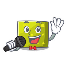 singing square mascot cartoon style vector image
