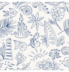 Sketch sea travel pattern vector image