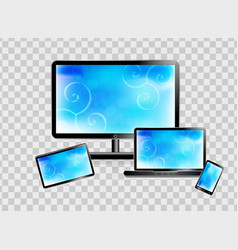 smartphone laptop monitor tablet set isolated vector image