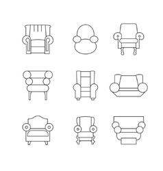 Sofa Outline Set vector image