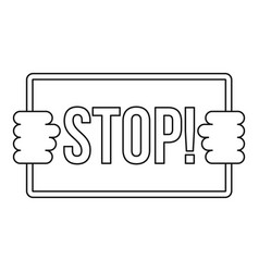 Stop icon outline style vector