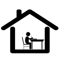 Study work from home pictogram depicting student vector