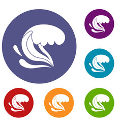 Surf wave icons set vector
