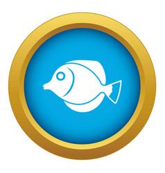 Tang fish zebrasoma flavescens icon blue vector