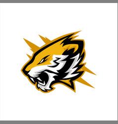Tiger head roaring e sports logo design vector