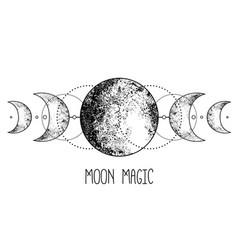 Triple moon pagan wicca moon goddess symbol three vector