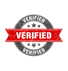 Verified round stamp with red ribbon verified vector