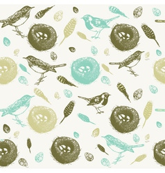 Vintage Bird Nest Pattern vector image