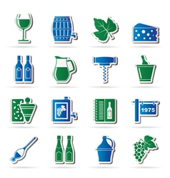 Wine industry objects icons vector image