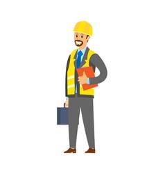 Worker in suit holding report and handbag vector