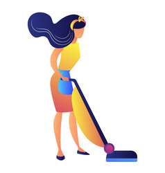 young woman with a vacuum cleaner vector image