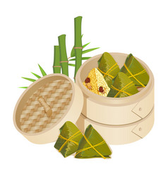 zongzi in takeaway container isolated on vector image