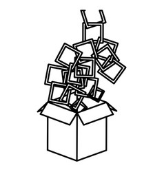 figure box opened with colored square icon vector image