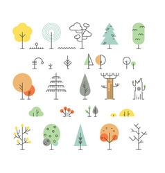 forest trees line icons with simple geometric vector image vector image