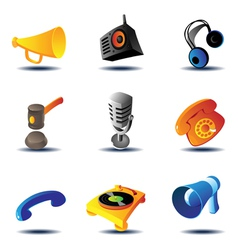 Icons of sound devices vector image