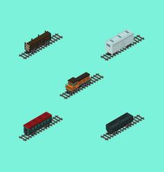 Isometric transport set of carbon railway vector