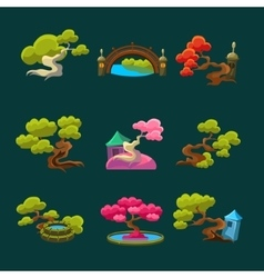Japanese Style Trees Set vector image