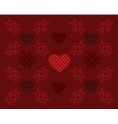 Red pattern with hearts vector image vector image