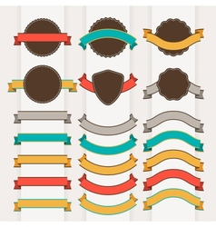 Set of retro badges labels ribbons and design vector image