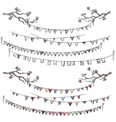 Doodle tree branches and party flags vector image vector image