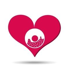 heart red cartoon donut icon design vector image vector image