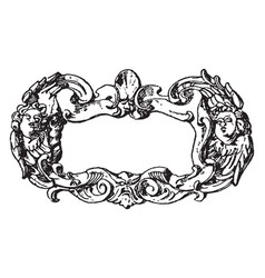 Renaissance strap-work frame fluttering ribbons vector