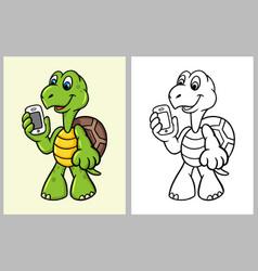 turtle bring handphone cartoon character vector image vector image