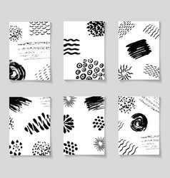 black ink brushes grunge patterns hand drawing vector image
