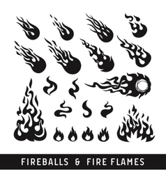 fireballs and flame silhouette icons vector image vector image