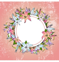 Lily Flower Round Frame vector image vector image