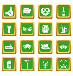 oktoberfest icons set green vector image vector image