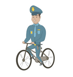 young hispanic police officer on bicycle vector image