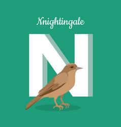 animals alphabet letter - n vector image