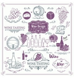 Decorative vintage wine icons vector image