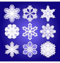 set of filigree snowflakes vector image