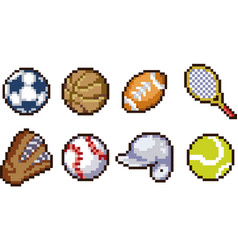 set of pixel sport icons vector image