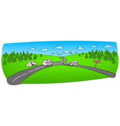 Towing Caravan on the Road vector image