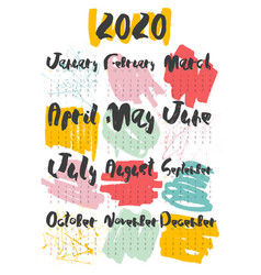2020 calendar hand lettering with doodle on white vector