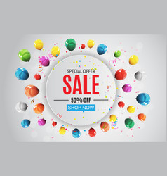 Abstract designs sale banner with balloons vector
