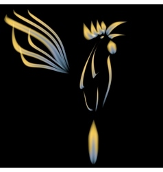 Abstract of a fiery cock on a black vector image