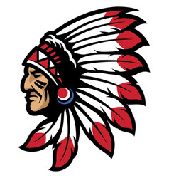 American native chief head mascot vector