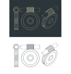 Archimedes worm and involute gear blueprints vector