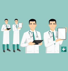 Asian medical doctor with digital tablet vector