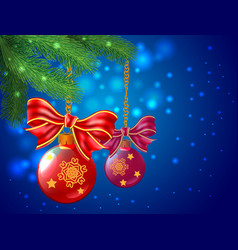 background wiht christmas balls and bows are vector image