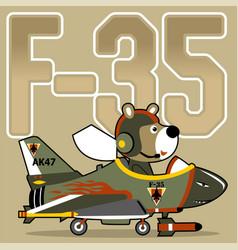 Bear jet pilot cartoon vector